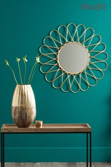 Antique Gold Metal Petal Design Round Wall Mirror by Pacific