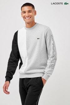 Lacoste® Grey/White/Black Block Crew Sweat Top