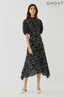 Ghost Black Jenna Crepe Georgette Floral Print Dress