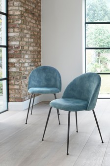 Set Of 2 Iva Dining Chairs With Black Legs