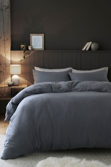 Charcoal Grey 100% Cotton Supersoft Brushed Duvet Cover and Pillowcase Set