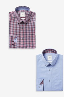 Easy Iron Button Down Oxford Shirts 2 Pack