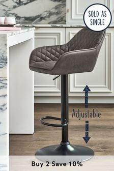 Hamilton Arm Adjustable Black Leg Bar Stool