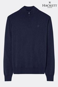Hackett Blue Cotton Silk Half Zip Knitwear Jumper