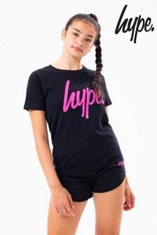 Hype. Black Set T-Shirt And Pink Script Runner Short