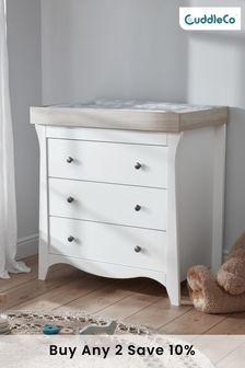 Clara 3 Drawer Dresser In White & Ash By Cuddleco