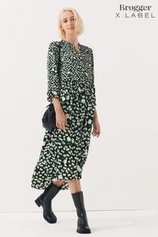 Brogger x Label Printed Satin Shirt Dress