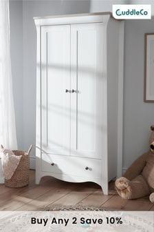 Clara Nursery Wardrobe In White & Ash By Cuddleco