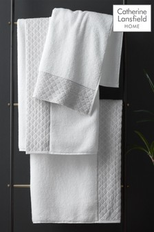 Catherine Lansfield White Zero Twist Sparkle Towel