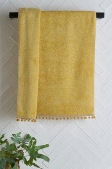 Ochre Pom Pom Towel