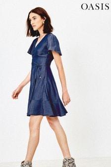 Oasis Blue Button Through Skater Dress