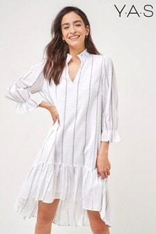 Y.A.S Sustainable Organic Cotton White Stripe Cashew Dress