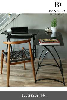 Banbury Designs Black 51 Modern Metal Glass Corner Computer Desk