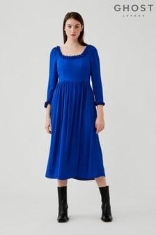 Ghost Blue Brynn Crepe Dress