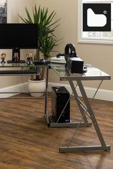 Banbury Designs Silver 51 Modern Metal Glass Corner Computer Desk