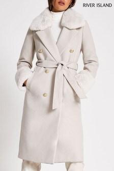 River Island Beige Villanelle Faux Fur Cuff Robe Coat