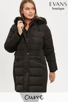 Evans Curve Black Button Detailed Padded Coat