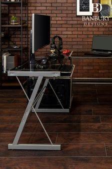 Banbury Designs Smoke 51 Modern Metal Glass Corner Computer Desk