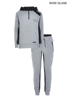 River Island Active Grey Blocked Tracksuit