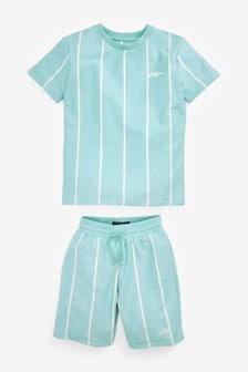 Vertical Stripe T-Shirt And Shorts Set (3-16yrs)