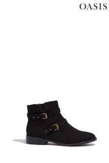 Oasis Black Blake Flat Buckle Boots