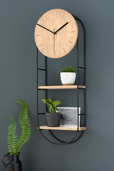 Wood Clock With Shelves