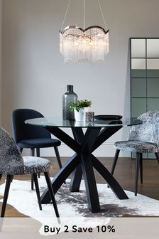 Oak & Glass Round Dining Table