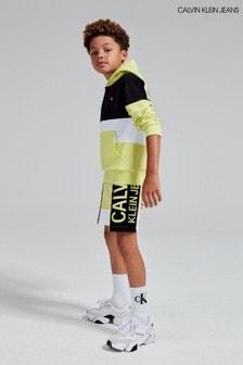 Calvin Klein Jeans Yellow Colourblock Logo Hoody