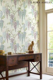 Laura Ashley Pale Iris Wisteria Garden Wallpaper