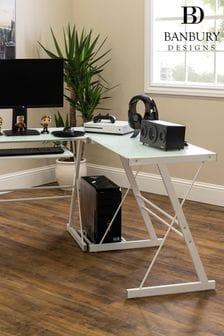 Banbury Designs White 51 Modern Metal Glass Corner Computer Desk