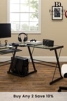 Banbury Designs Multi 51 Modern Metal Glass Corner Computer Desk