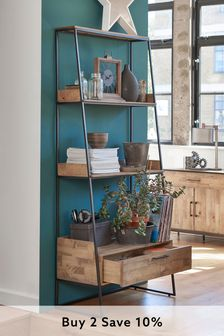 Jefferson Rustic Storage Ladder Shelf