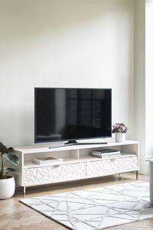 Mode White Gloss Textured Superwide TV Stand