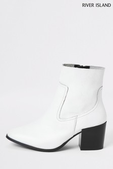 River Island White 0820 Pluto Clean Boots