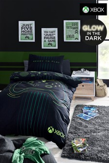 Black Glow In The Dark XBox Duvet Cover and Pillowcase Set