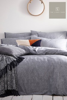 The Linen Yard Blue Claybourne Denim Duvet Cover And Pillowcase Set
