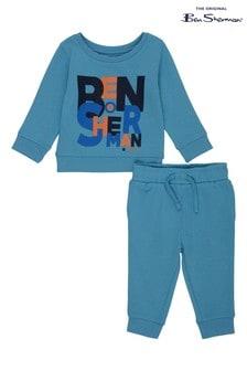 Ben Sherman® Blue Muddled Font Crew Neck Top And Jogger Set
