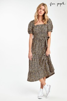 Free People Black Floral Midi Dress