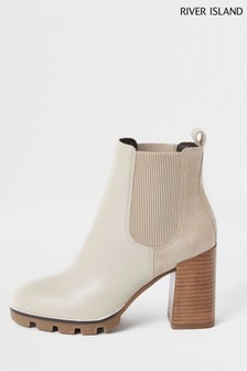 River Island White Dark Tops Cleated Chelsea Boots
