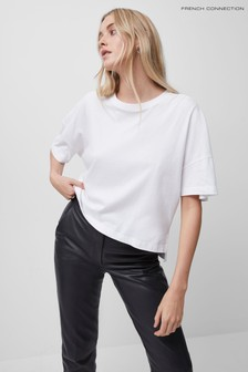 French Connection White Tally Organic Jersey Crew Neck T-Shirt