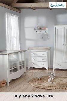 Clara 3 piece White & Ash Nursery Furniture Set - Cot Bed, Dresser & Wardrobe By Cuddleco