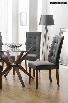 Set of 2 Madrid Velvet Dining Chairs by Julian Bowen