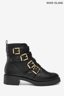 River Island Black Strappy Chunky Boots