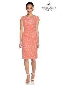 Adrianna Papell Orange Plus Hibiscus Jacquard Draped Dress