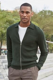 Premium Knitted Zip Through Polo Shirt