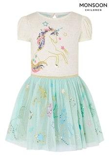 Monsoon Blue Sequin Unicorn Disco Dress