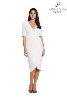 Adrianna Papell White Rio Knit Draped V-Neck Sheath Dress