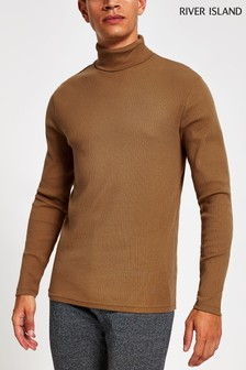 River Island Camel Long Sleeve Roll Neck T-Shirt