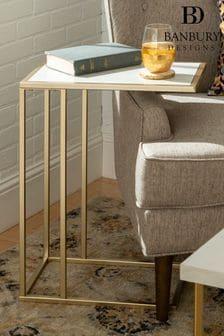 Banbury Designs Marble/ Gold Modern End Table  White Faux