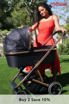Your Babiie Belgravia Rose Gold Black Travel System by My Babiie